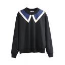 Color Block Round Neck Long Sleeve Sweatshirt