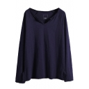 Plain V-Neck Long Sleeve Raglan Sleeve T-Shirt