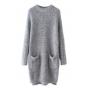 Round Neck Long Sleeve Double Pockets Longline Sweater