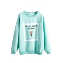 Cute Cartoon Letter Print Long Sleeve Sweatshirt