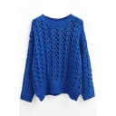Plain Hollow Open Knit Long Sleeve Sweater