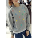 Floral Embroidery Round Neck Long Sleeve Sweatshirt