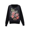 Long Sleeve Round Neck Floral Print Pullover Sweatshirt