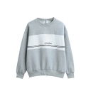 Letter Print Stripe Trims Round Neck Long Sleeve Sweatshirt