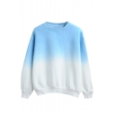Ombre Round Neck Long Sleeve Pullover Sweatshirt