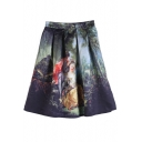 Zip Back A-Line Character Landscape Print Skirt