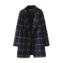 Double Breasted Lapel Long Sleeve Double Pocket Woolen Coat