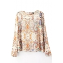 Round Neck Long Sleeve Button Back Tribal Print Shirt
