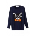 Cat Print Round Neck Long Sleeve Sweater