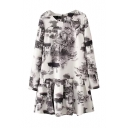 House Ink Print Long Sleeve Round Neck Smock Dress