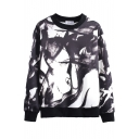 Stylish Ink Tie-Dyed Round Neck Long Sleeve Sweatshirt