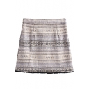 Tribal Geometric Print Zip Side Mini Wrap Skirt