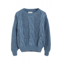 Cable Knit Long Sleeve Round Neck Crop Sweater