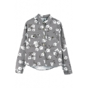Gray Long Sleeve Double Pocket Floral Print Coat