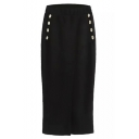 Elastic Waist Button Detail Pencil Maxi Skirt