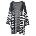 Black Geo-Tribal Print Long Sleeve Long Cardigan
