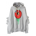 Long Sleeve Hooded Eye Print Batqing Sleeve Hoodie