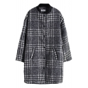 Sand Up Collar Plaid Long Sleeve Single Breasted Coat