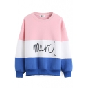 Color Block Embroidered Letter Long Sleeve Sweatshirt