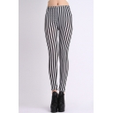 High Waist Stripes Skinny Leggings