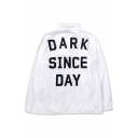 Letter Print Stand Up Collar Long Sleeve Sun Protect Coat