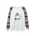 Round Neck Long Sleeve Cartoon Tribal Print Sweatshirt