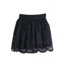 Plain Lace Zip Side Mini Skirt
