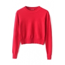 Plain Round Neck Long Sleeve Crop Knit Sweater