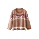 Tribal Jacquard Round Neck Long Sleeve Pullover Sweater