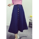 Button Fly Denim Dark Blue Flared Maxi Skirt