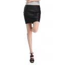 Plain Black Zipper Back Mini Wrap PU Skirt