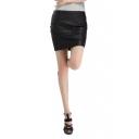 Plain Black Zipper Back Mini Wrap PU Skirt