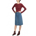 Button Fly Blue Denim A-Line Midi Skirt