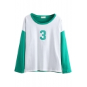 Number Print Front Round Neck Long Sleeve Colorblock Tee