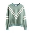 Round Neck Stripe Print Long Sleeve Sweatshirt