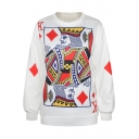 White Poker Print Long Sleeve Round Neck Sweatshirt
