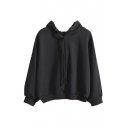 3/4 Length Sleeve Hooded Pullover Plain Sweatshirt