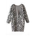 Leopard Open Front Long Sleeve Tunic Cardigan