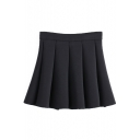 Plain High Waist Full Cotton Pleated Skirt