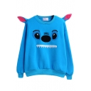 Blue Round Neck Long Sleeve Cartoon Print Sweatshirt