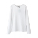 Round Neck Long Sleeve Plain Tee