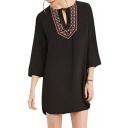 Tribal Embroidery Tie Collar 3/4 Length Sleeve Black Shirt Dress