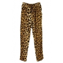 Leopard Print Elastic Waist High Waist Harem Pants