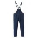 Dark Blue Cigarette Pocket Detail Overall Pants