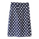 Polka Dot Print Tube Midi Skirt