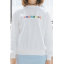 Letter Embroidered Round Neck Sweatshirt
