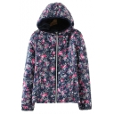 Floral Hoodie Long Sleeve Zip Up Cotton Coat