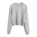 Round Neck Long Sleeve Plain Short Sweater