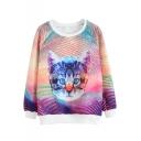 Cat Print Round Neck Long Sleeve Pullover Sweatshirt