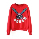 Round Neck Long Sleeve Cartoon Print Sweatshirt